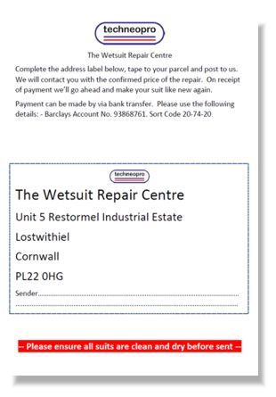 Techneopro Wetsuit Repair Centre label